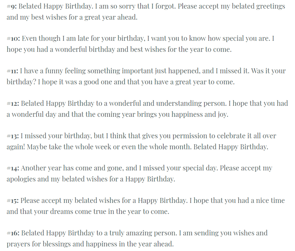 Sincere Belated Birthday Wishes