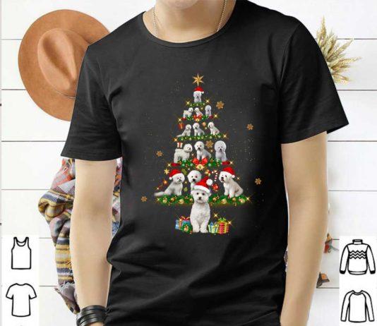 Bichon Frise Tree Christmas Santa Hat Shirt