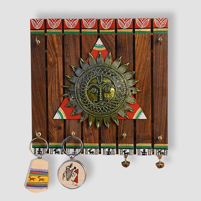 Brass, Wood and Colours'; Madhubani Hand-Painted Dhokra Key Holder in Sheesham and Teak Wood