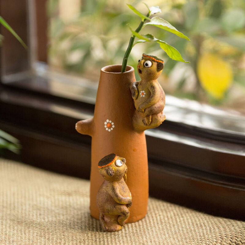 Chattering Monkeys'; Handmade Garden Decorative Table Cum Wall Showpiece in Terracotta